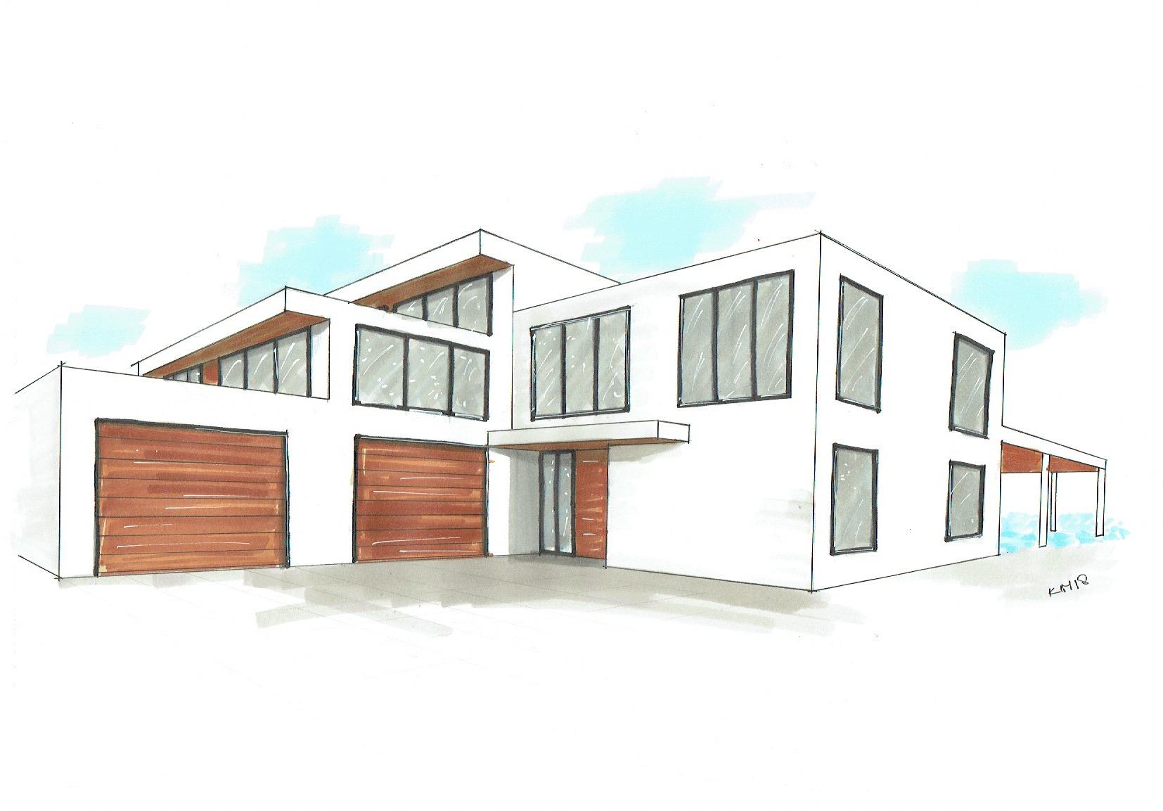 Sketch villa garages